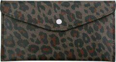 Yehwang Portemonnee, envelop, luipaard zwart/bruin