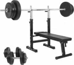 Zwarte Gorilla Sports Halterbank Verstelbaar met 70kg Halterset