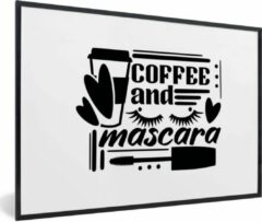 PosterMonkey Quote coffee and mascara op witte achtergrond 90x60 cm