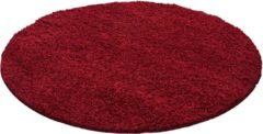 Impression Shaggy Hoogpolig Rond vloerkleed Rood Effen Tapijt Carpet - 120 x 120 cm
