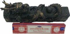 Bronze Peperbol Wierook houder Draak liggend + doosje Satya Dragon Blood wierook