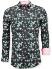 Zwarte Tony Backer Casual overhemden digitale bloemen print