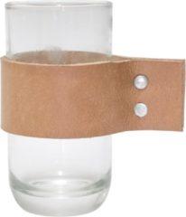 TAK Design Drinkglas Wrap Me - Incl. Lederen Band - Glas - Ø6,7 x 12,3 cm - Bruin