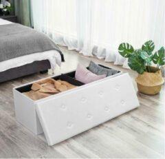 MIRA Home - Opbergkist - Halbank - Met opbergruimte - Wit - Modern - 38x38x110