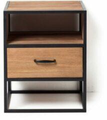 Bruine Xenos Nachtkastje Charlie met plank - 40x40x50 cm