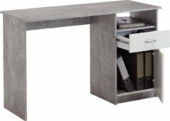 FD Furniture Bureau Jackson 123 cm breed - Grijs beton met wit