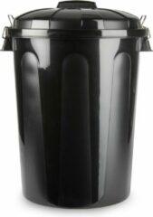 Forte Plastics Kunststof afvalemmers/vuilnisemmers in het zwart van 70 liter met deksel - Vuilnisbakken/prullenbakken - 47,5 x 52 x 67 cm