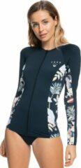 Antraciet-grijze Roxy - UV Zwemshirt met rits voor dames - Beach Classics - Antraciet/Bloemen - maat M