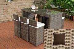CLP Gartenbar-Set LENOX 5mm aus wetterbeständigem Polyrattan Gartenmöbel-Set mit 6 Barhockern inkl. 6 Sitzkissen und einem Bartisch In verschiedenen