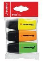 Witte Stabilo Markeerstift Boss Mini Etui Van 3 Stuks: Geel, Groen En Oranje