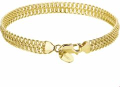 Goudkleurige The Jewelry Collection Zilgold Armband Witgoud Dubbel Gourmet 6,5 mm 20 cm