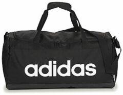 Zwarte Adidas Linear Duffle M sporttas van gerecycled polyester