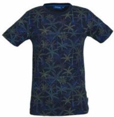 Marineblauwe someone t shirt borneo met all over print marine blauw