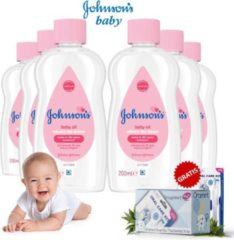 Johnson's Baby Johnsons Baby Olie 200ml - 6 Pack + Oramint Oral Care Kit