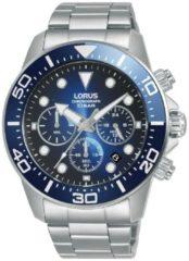 Zilveren Lorus horloge chronograaf blauw 100m WD RT343JX9