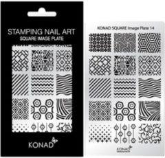 Grijze KONAD Square stempel sjabloon 14 met 15 nagel figuurtjes.