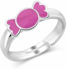 JYC Zilveren Candy ring verstelbaar roze snoepje