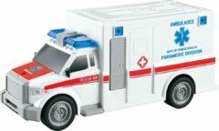 Witte Jollity Works JollyVrooom - Ambulance met licht en geluid - Schaal 1:20