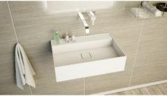 Ideavit SolidBliss Wastafel 60x40x16cm 0 kraangaten Solid surface mat wit Solidbliss-60