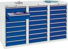 Stumpf Metall Stumpf® STS 410 Schubladenschrank mit 24 Schubladen, lichtgrau / blau - 90 x 150 x 50 cm
