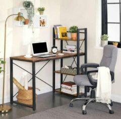 MIRA Home - Bureautafel - Computertafel met planken - Bureau - Industrieel - Bruin/zwart - 120x60x76/120