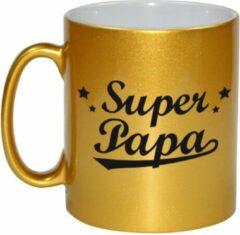 Goudkleurige Bellatio Decorations Super papa gouden mok / beker voor Vaderdag 330 ml
