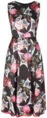 Stilvolles Kleid AVA mit edlem Blumenmuster Nicowa BLACK / AZALEA / GREEN