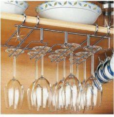 Merkloos / Sans marque Wijnrek voor 12 glazen - 34x25x9cm - Zilverkleurig metaal - 12 wijnglazen