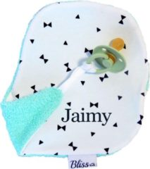 Speendoekje - Knuffeldoekje met naam - gepersonaliseerd cadeau - Wallabiezzz - Strikjes Zwart/Wit Mint achterzijde
