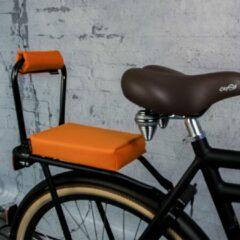 Setje : Bagagedrager-kussen + rug-rolkussentje Ohmiomine Feestelijk Oranje 002