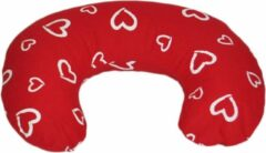 Merkloos / Sans marque Voedingskussen - Zwangerschapskussen - 100% katoen - 80 cm - rood met witte hartjespatroon