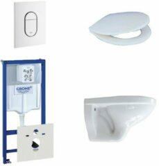 Adema Classico toiletset bestaande uit inbouwreservoir, toiletpot, toiletzitting en bedieningsplaat verticaal wit 0729205/0261520/4345100/0729242