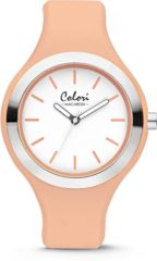 Colori Watches Colori Macaron 5 COL435 Horloge - Siliconen Band - Ø 42 mm - Licht Oranje / Zilverkleurig