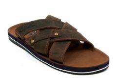 Australian Footwear Heren Slippers Nordwayk at sea Brown Leather - Bruin - maat 39