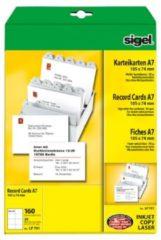 Witte Systeemkaart Sigel A7 74x105mm 185g blanco doos 160St