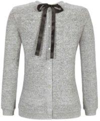Pullover mit Schleife und Knopfleiste am Rücken solo per me ringvella grau-melange