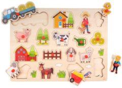 Merkloos / Sans marque Houten knopjes/noppen speelgoed puzzel boerderij thema 40 x 30 cm - Educatief speelgoed voor kinderen