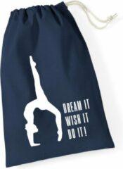 Marineblauwe Sparkle&Dream Leertjes/Lusjes Tasje 'Dream It' Navy, voor turnen en gymnastiek
