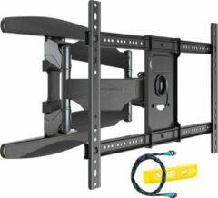 Zwarte Invision® TV Beugel met dubbele arm voor grote schermen met extra draagkracht | Geschikt voor 37-70 Inch tot 50 kg | Draai- en kantelbaar | Muurbeugel steun ophang arm | Geschikt voor elk merk | Grote draaihoek | Monitor stand | Inclusief HDMI-kabe