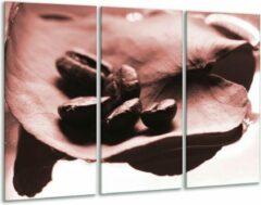 GroepArt Glas schilderij Koffiebonen, Keuken   Bruin, Rood   120x80cm 3Luik   Foto print op Glas   F006647