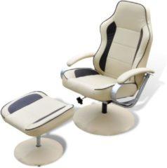 Creme witte Vidaxl Tv-fauteuil Met Voetensteun Verstelbaar Kunstleer Crème/bruin