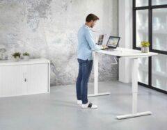 Kantoormeubelen.pro Zit Sta Bureau Slinger - 160x80 cm - Wit onderstel - Wit blad