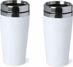 Bellatio Design 8x stuks warmhoudbeker/warm houd beker metallic wit 450 ml - RVS Isoleerbeker/thermosbekers reisbekers voor onderweg