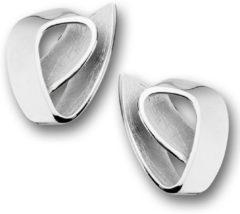 TFT Oorknoppen Gescratcht Zilver Gerhodineerd Glanzend 20 mm x 16.5 mm