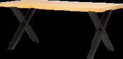 Bruine Lanterfant Lanterfant® Megan - Eettafel - Eikenhout - 220 x 100 - X poten
