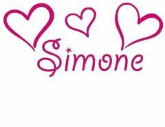 Familiestickers Deursticker hartjes met naam - cyclaam-roze - gepersonaliseerd - 13 x 28 cm