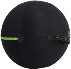 Grijze Tunturi Fitnessbalhoes - zitbal - 75cm met groene rits