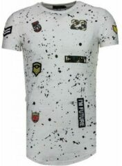 Justing Exclusief Military Patches Paint Splash - T-Shirt - Wit Heren T-shirt L