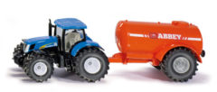Blauwe Siku New Holland T7070 tractor met Abbey giertank blauw/oranje (1945)