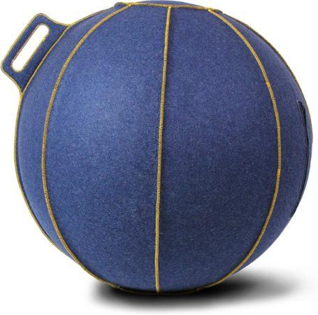 Afbeelding van Blauwe Zitbal - Velt - met gele stiknaden - Ø70-75 - Blauw - Vluv